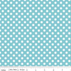 White Polka Dot Aqua Fabric - The Little Kraft Shed